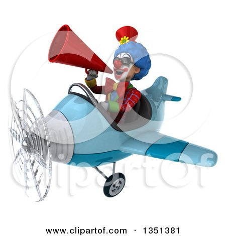 Clipart of a 3d Colorful Clown Aviator Pilot Wearing Sunglasses, Using a Megaphone and Flying a Blue Airplane to the Left - Royalty Free Illustration by Julos