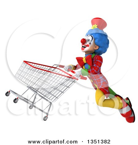 Clipart of a 3d Colorful Clown Flying with a Shopping Cart - Royalty Free Illustration by Julos