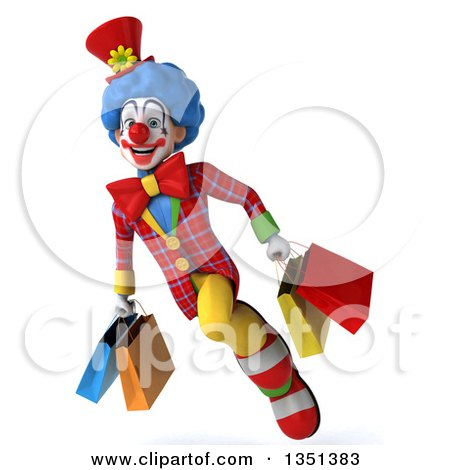 Clipart of a 3d Colorful Clown Carrying Shopping Bags and Flying - Royalty Free Illustration by Julos