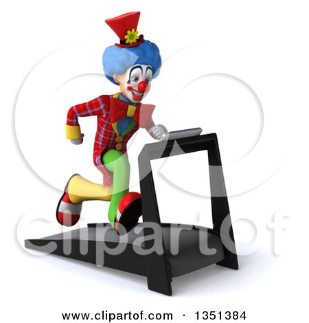 Clipart of a 3d Colorful Clown Sprinting on a Treadmill - Royalty Free Illustration by Julos