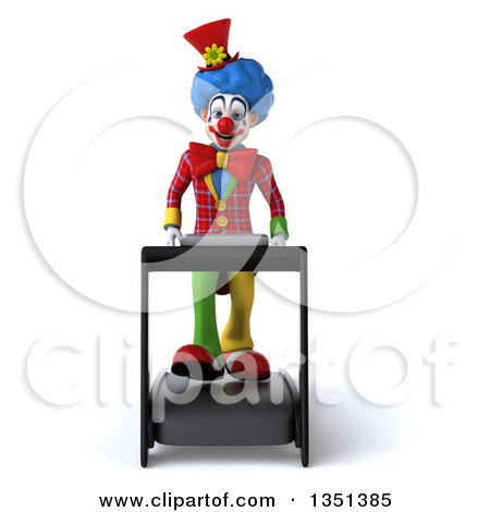 Clipart of a 3d Colorful Clown Walking on a Treadmill - Royalty Free Illustration by Julos