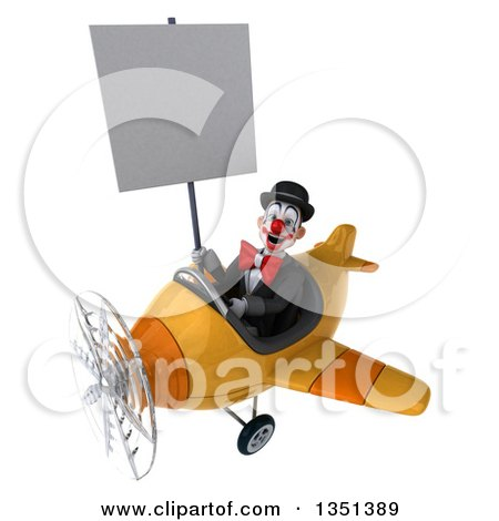 Clipart of a 3d White and Black Clown Aviator Pilot Holding a Blank Sign and Flying a Yellow Airplane to the Left - Royalty Free Illustration by Julos