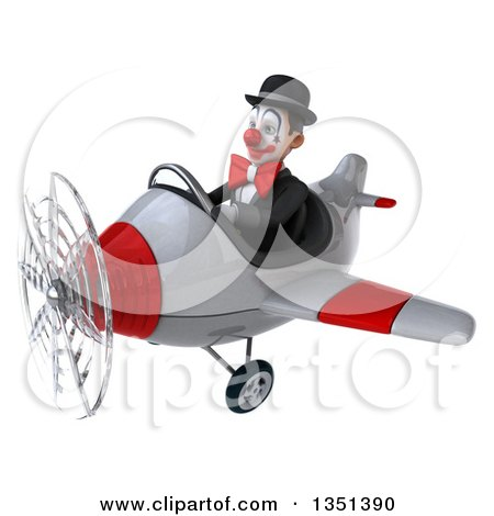 Clipart of a 3d White and Black Clown Aviator Pilot Flying a White and Red Airplane to the Left - Royalty Free Illustration by Julos