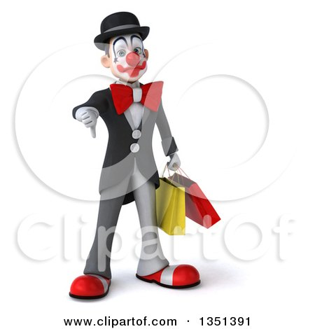 Clipart of a 3d White and Black Clown Carrying Shopping Bags and Giving a Thumb down - Royalty Free Illustration by Julos