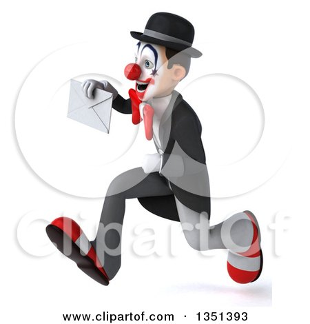 Clipart of a 3d White and Black Clown Holding an Envelope and Sprinting to the Left - Royalty Free Illustration by Julos