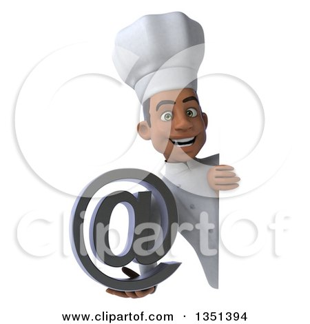 Clipart of a 3d Young Black Male Chef Holding an Email Arobase at Symbol Around a Sign - Royalty Free Illustration by Julos