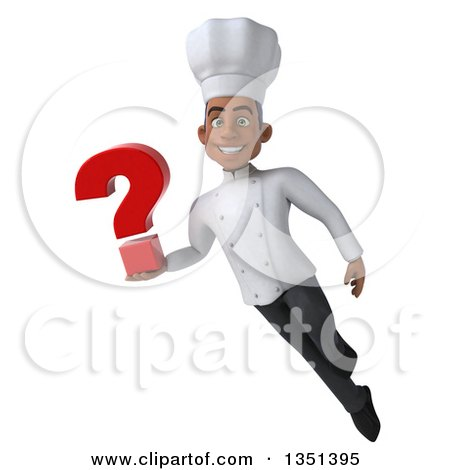 Clipart of a 3d Young Black Male Chef Holding a Question Mark and Flying - Royalty Free Illustration by Julos