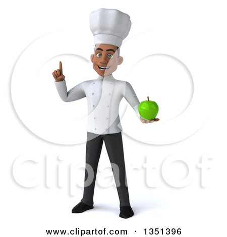 Clipart of a 3d Young Black Male Chef Holding up a Finger and a Green Apple - Royalty Free Illustration by Julos