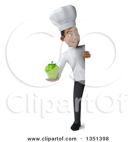 Clipart of a 3d Full Length Young Black Male Chef Holding a Green Bell Pepper Around a Sign - Royalty Free Illustration by Julos