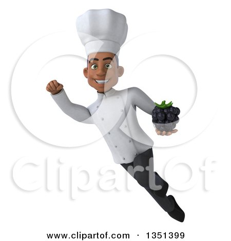 Clipart of a 3d Young Black Male Chef Holding a Blackberry and Flying - Royalty Free Illustration by Julos