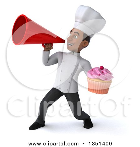 Clipart of a 3d Young Black Male Chef Holding a Cupcake and Using a Megaphone - Royalty Free Illustration by Julos