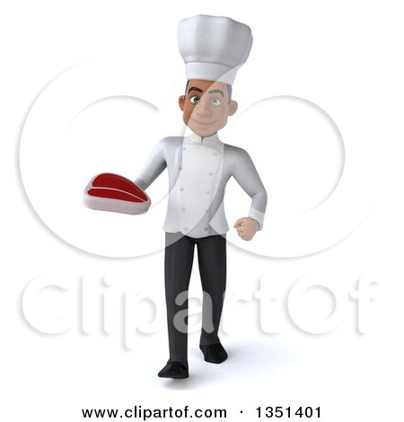 Clipart of a 3d Young Black Male Chef Holding a Beef Steak and Walking - Royalty Free Illustration by Julos