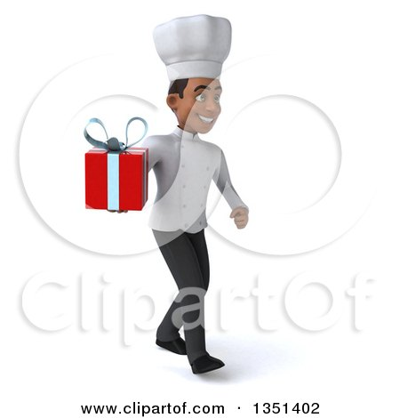 Clipart of a 3d Young Black Male Chef Holding a Gift and Walking to the Right - Royalty Free Illustration by Julos