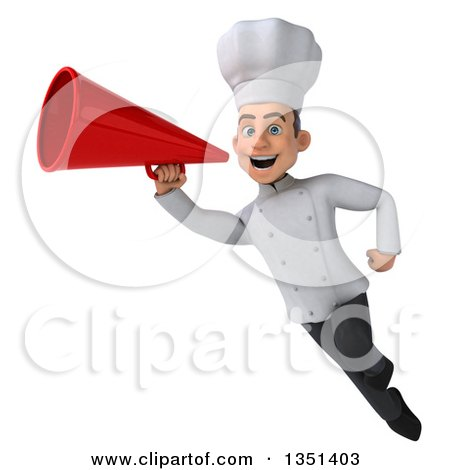 Clipart of a 3d Young White Male Chef Using a Megaphone and Flying - Royalty Free Illustration by Julos