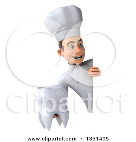 Clipart of a 3d Young White Male Chef Holding a Tooth Around a Sign - Royalty Free Illustration by Julos