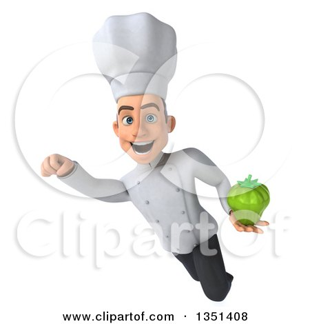 Clipart of a 3d Young White Male Chef Holding a Green Bell Pepper and Flying - Royalty Free Illustration by Julos