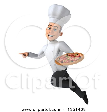 Clipart of a 3d Young White Male Chef Holding a Pizza, Flying and Pointing - Royalty Free Illustration by Julos