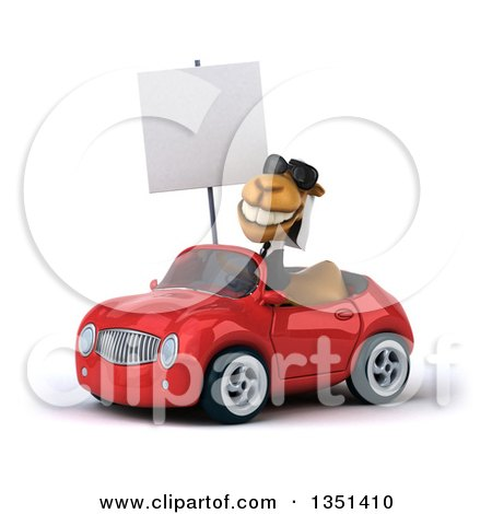 Clipart of a 3d Arabian Business Camel Wearing Sunglasses, Holding a Blank Sign and Driving a Red Convertible Car to the Left - Royalty Free Illustration by Julos