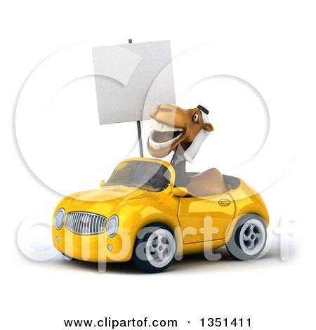 Clipart of a 3d Arabian Business Camel Holding a Blank Sign and Driving a Yellow Convertible Car to the Left - Royalty Free Illustration by Julos
