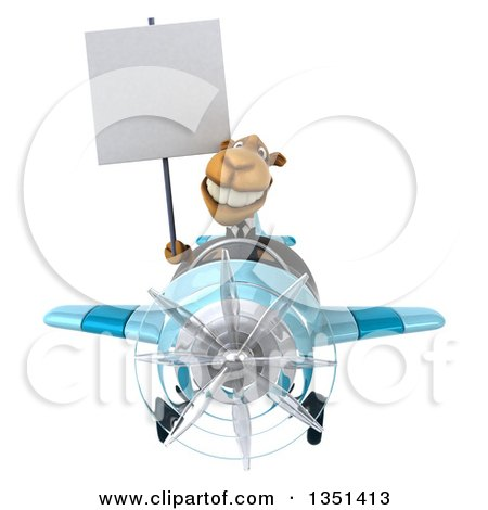 Clipart of a 3d Business Camel Aviator Pilot Holding a Blank Sign and Flying a Blue Airplane - Royalty Free Illustration by Julos