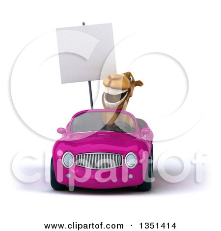 Clipart of a 3d Camel Holding a Blank Sign and Driving a Purple Convertible Car - Royalty Free Illustration by Julos
