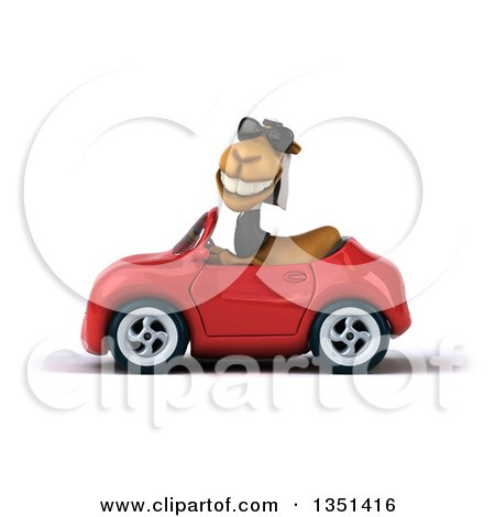 Clipart of a 3d Arabian Business Camel Wearing Sunglasses and Driving a Red Convertible Car to the Left - Royalty Free Illustration by Julos