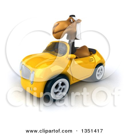 Clipart of a 3d Arabian Business Camel Driving a Yellow Convertible Car to the Left - Royalty Free Illustration by Julos