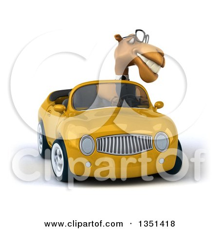 Clipart of a 3d Bespectacled Business Camel Driving a Yellow Convertible Car - Royalty Free Illustration by Julos