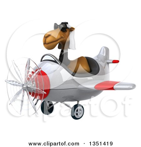 Clipart of a 3d Arabian Business Camel Aviator Pilot Wearing Sunglasses and Flying a White and Red Airplane to the Left - Royalty Free Illustration by Julos