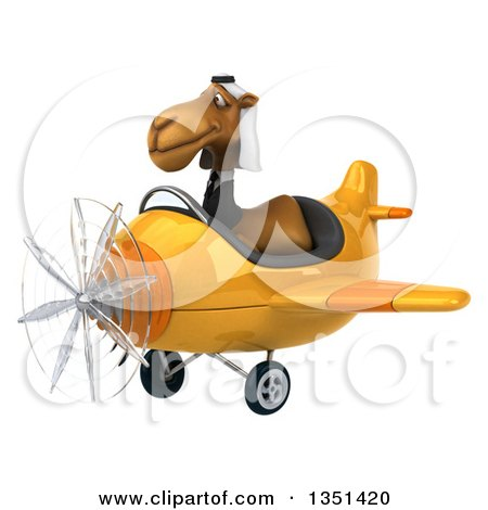 Clipart of a 3d Arabian Business Camel Aviator Pilot Flying a Yellow Airplane to the Left - Royalty Free Illustration by Julos