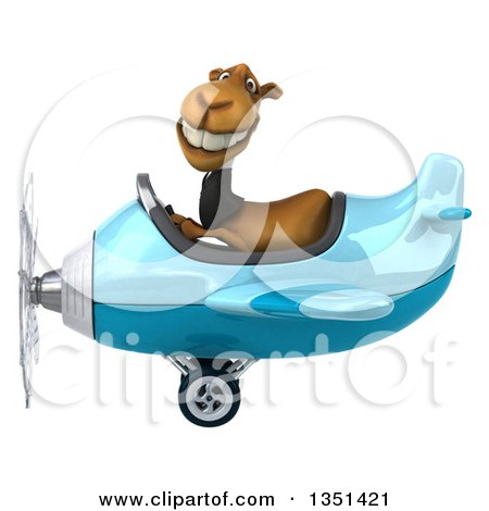 Clipart of a 3d Business Camel Aviator Pilot Flying a Blue Airplane to the Left - Royalty Free Illustration by Julos