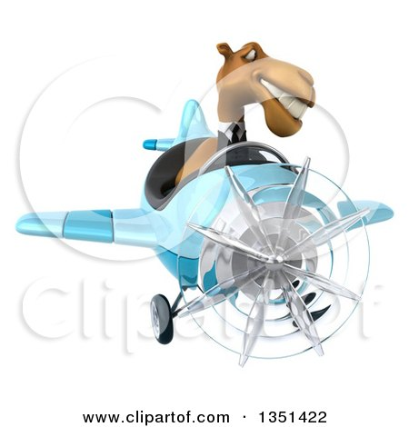 Clipart of a 3d Business Camel Aviator Pilot Flying a Blue Airplane - Royalty Free Illustration by Julos