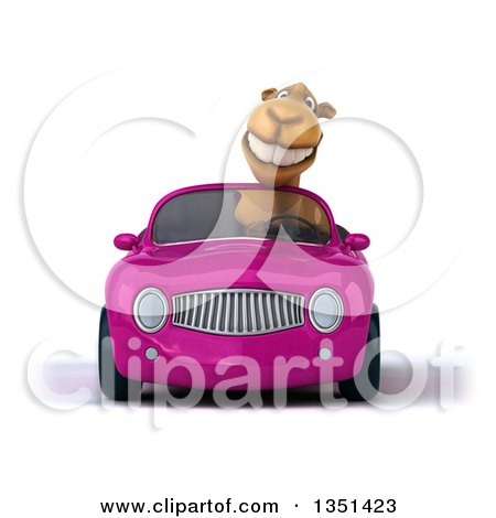 Clipart of a 3d Camel Driving a Purple Convertible Car - Royalty Free Illustration by Julos