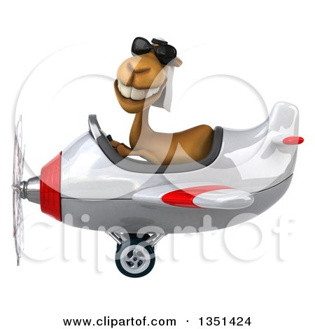 Clipart of a 3d Arabian Camel Aviator Pilot Wearing Sunglasses and Flying a White and Red Airplane to the Left - Royalty Free Illustration by Julos