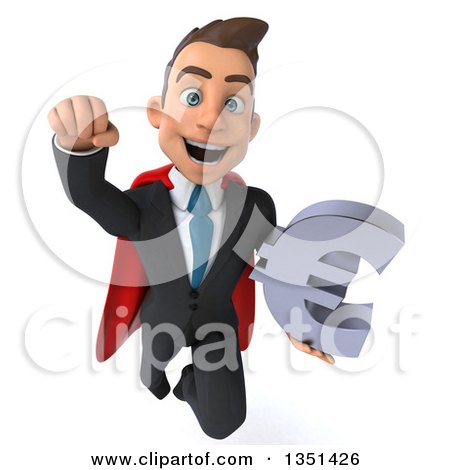 Clipart of a 3d Super White Businessman Holding a Euro Currency Symbol and Flying - Royalty Free Illustration by Julos