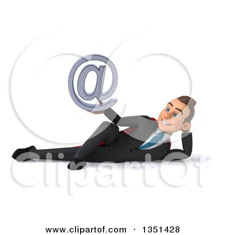 Clipart of a 3d Super White Businessman Holding an Email Arobase at Symbol and Resting on His Side - Royalty Free Illustration by Julos
