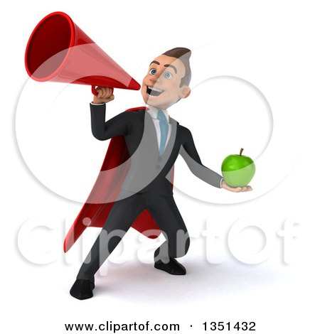 Clipart of a 3d Super White Businessman Holding a Green Apple and Using a Megaphone - Royalty Free Illustration by Julos