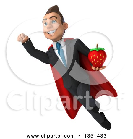 Clipart of a 3d Super White Businessman Holding a Strawberry and Flying - Royalty Free Illustration by Julos
