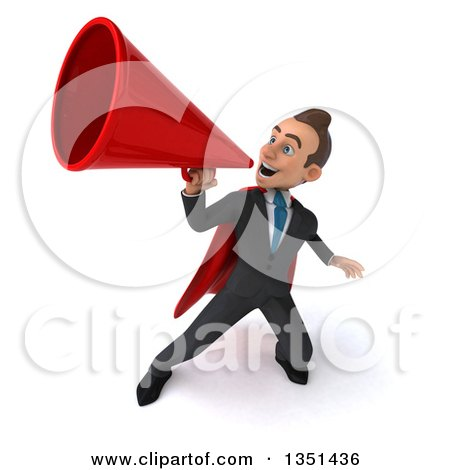 Clipart of a 3d Super White Businessman Using a Megaphone - Royalty Free Illustration by Julos