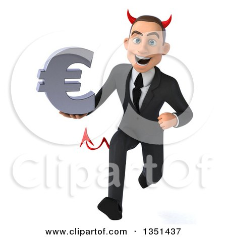Clipart of a 3d Young White Devil Businessman Holding a Euro Currency Symbol and Sprinting - Royalty Free Illustration by Julos