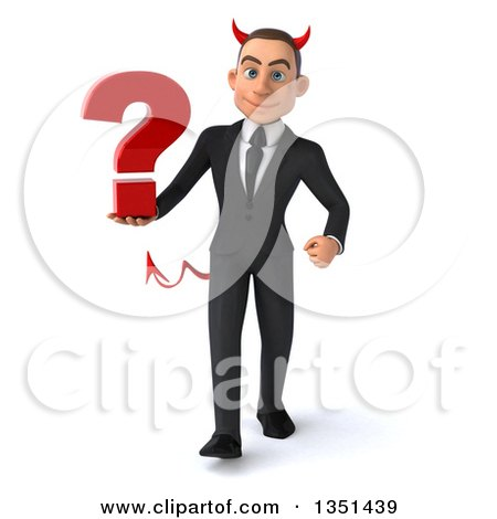 Clipart of a 3d Young White Devil Businessman Holding a Question Mark and Walking - Royalty Free Illustration by Julos