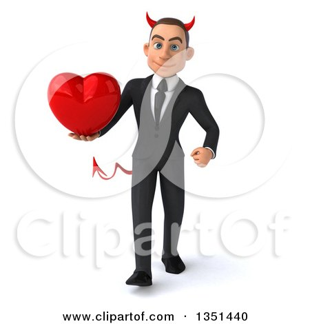 Clipart of a 3d Young White Devil Businessman Holding a Love Heart and Walking - Royalty Free Illustration by Julos