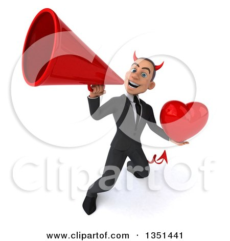 Clipart of a 3d Young White Devil Businessman Holding a Love Heart and Using a Megaphone - Royalty Free Illustration by Julos