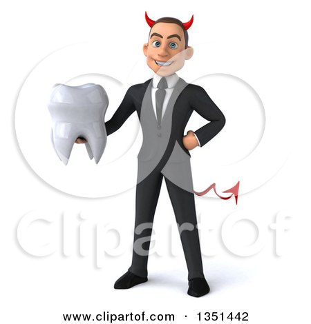 Clipart of a 3d Young White Devil Businessman Holding a Tooth - Royalty Free Illustration by Julos