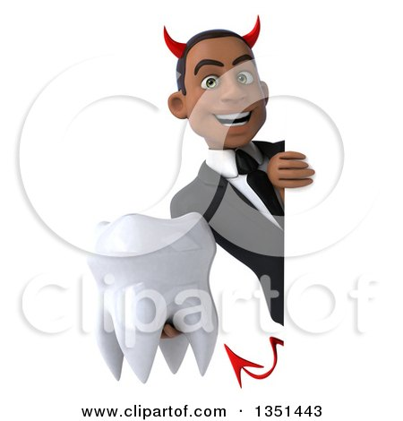 Clipart of a 3d Young Black Devil Businessman Holding a Tooth Around a Sign - Royalty Free Illustration by Julos