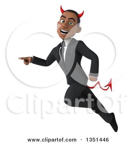 Clipart of a 3d Young Black Devil Businessman Flying and Pointing - Royalty Free Illustration by Julos