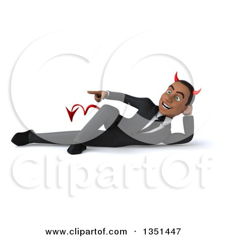 Clipart of a 3d Young Black Devil Businessman Resting on His Side and Pointing - Royalty Free Illustration by Julos