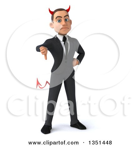Clipart of a 3d Young White Devil Businessman Giving a Thumb down - Royalty Free Illustration by Julos