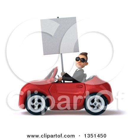 Clipart of a 3d Young White Businessman Wearing Sunglasses, Holding a Blank Sign and Driving a Red Convertible Car to the Left - Royalty Free Illustration by Julos