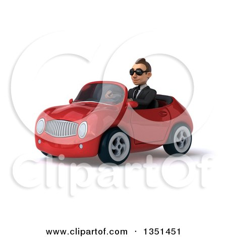 Clipart of a 3d Young White Businessman Wearing Sunglasses and Driving a Red Convertible Car to the Left - Royalty Free Illustration by Julos